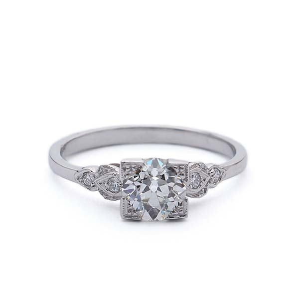 Replica Art Deco diamond engagement ring set with a vintage diamond #127957 - Leigh Jay & Co.