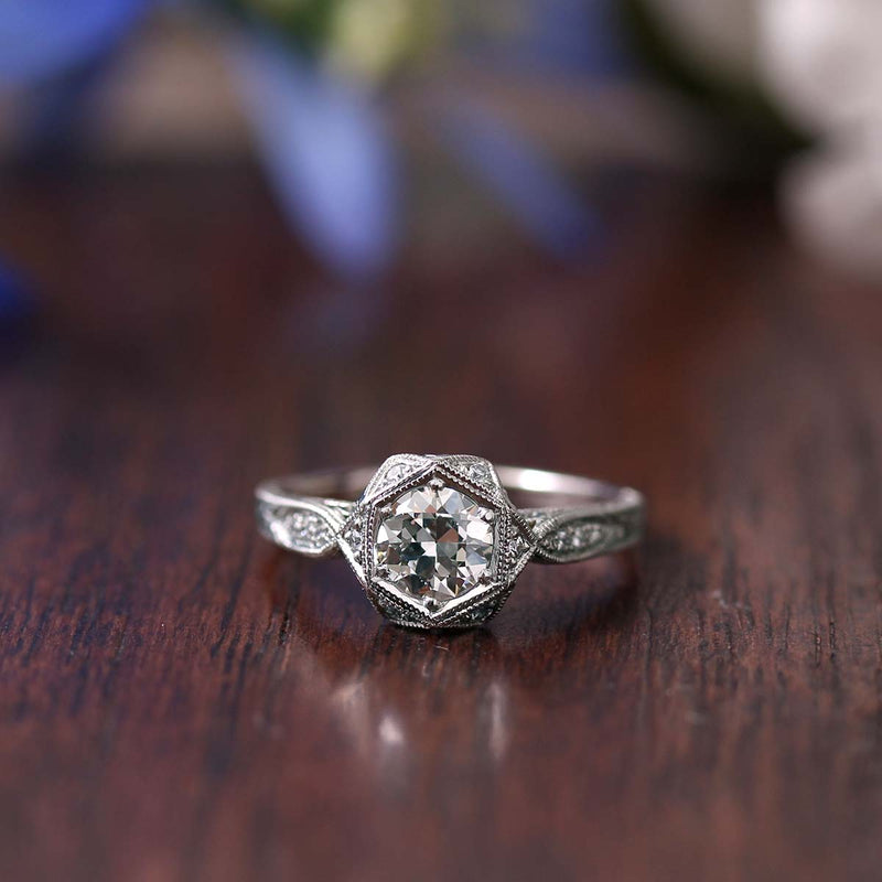 Replica Art Deco Engagement Ring with Vintage Diamond #2520-24 - Leigh Jay & Co.