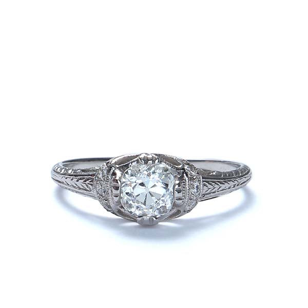 Replica art deco domed engagement ring #L3031 - Leigh Jay & Co.