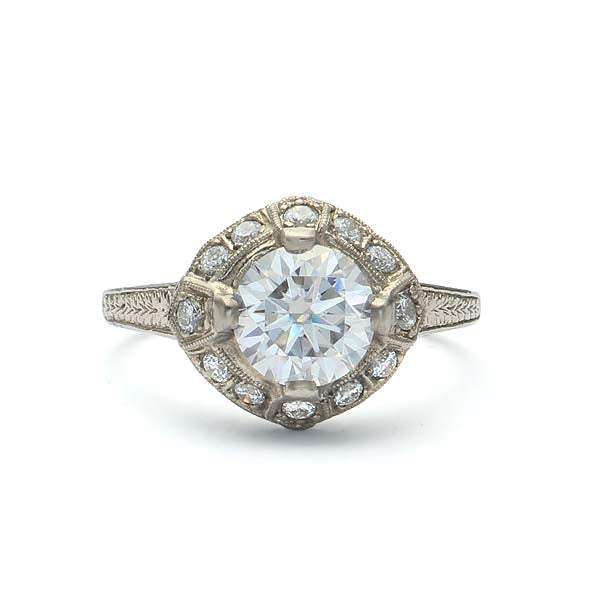 Replica art deco halo engagement ring. #L3068 - Leigh Jay & Co.