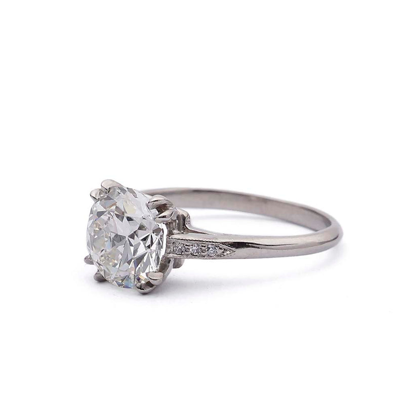 Replica 1930s engagement ring set with an old european cut diamond #3104-23 - Leigh Jay & Co.
