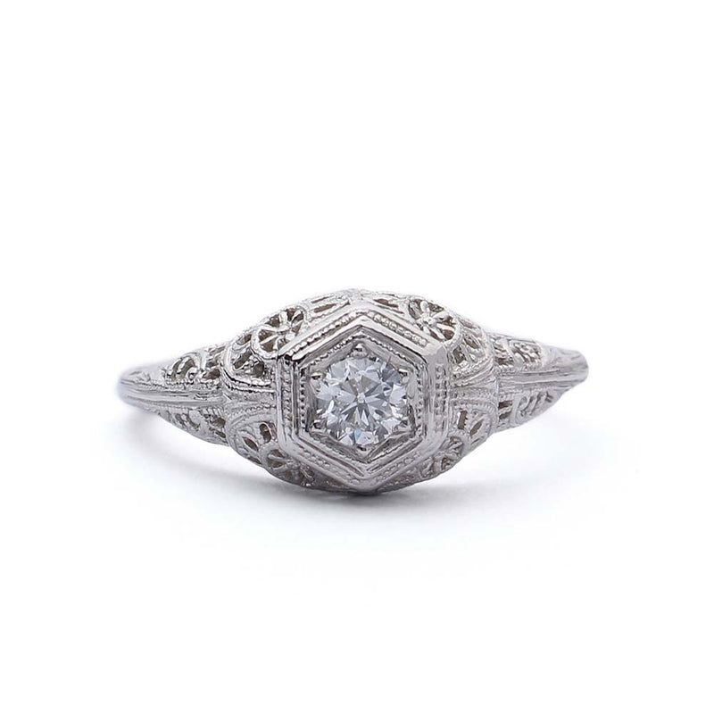 replica Early Art Deco Engagement Ring set with a vintage diamond #3147-03 - Leigh Jay & Co.
