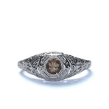 Replica Filigree engagement ring set with a Smoky Brown Quartz #455945 - Leigh Jay & Co.