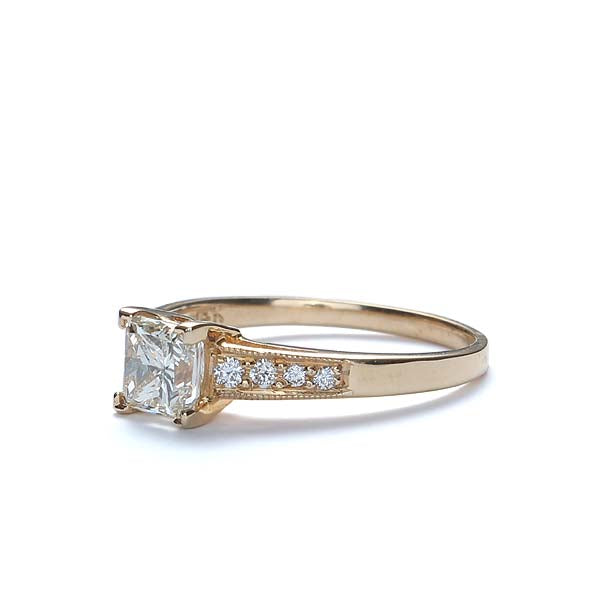 Replica Art Deco Engagement Ring with a Princess Cut diamond #3207-02 - Leigh Jay & Co.