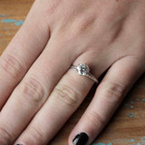 Hand Engraved Edwardian Inspired Solitaire Engagement ring #3233HE-7 - Leigh Jay & Co.