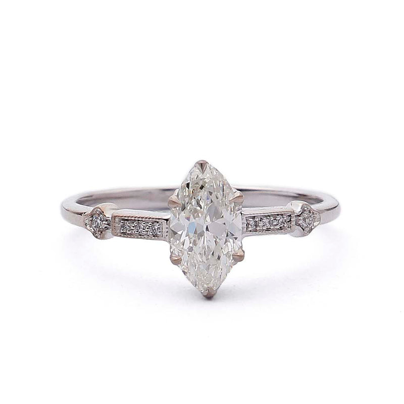 Engagement Ring with Vintage Marquise Diamond #3315-2 - Leigh Jay & Co.