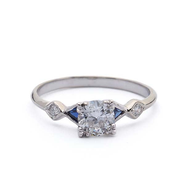 Replica Art Deco Engagement Ring with Sapphire Side stones #3318S-01 - Leigh Jay & Co.