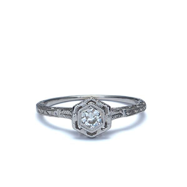 Replica Art Deco Engagement Ring #3381-01 - Leigh Jay & Co.