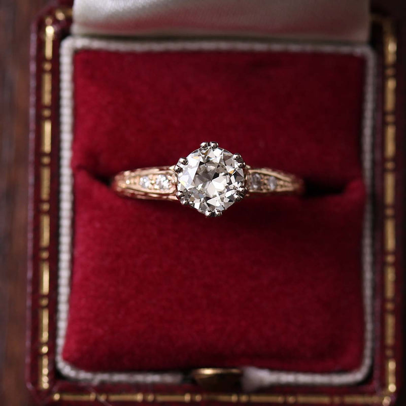 Replica Edwardian Engagement Ring with Vintage Diamond #3421-1 - Leigh Jay & Co.