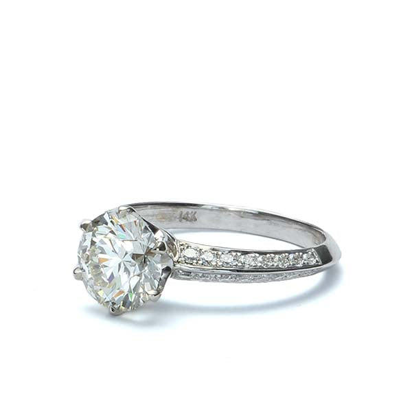 Pave Six prong engagement ring #3430-1 - Leigh Jay & Co.