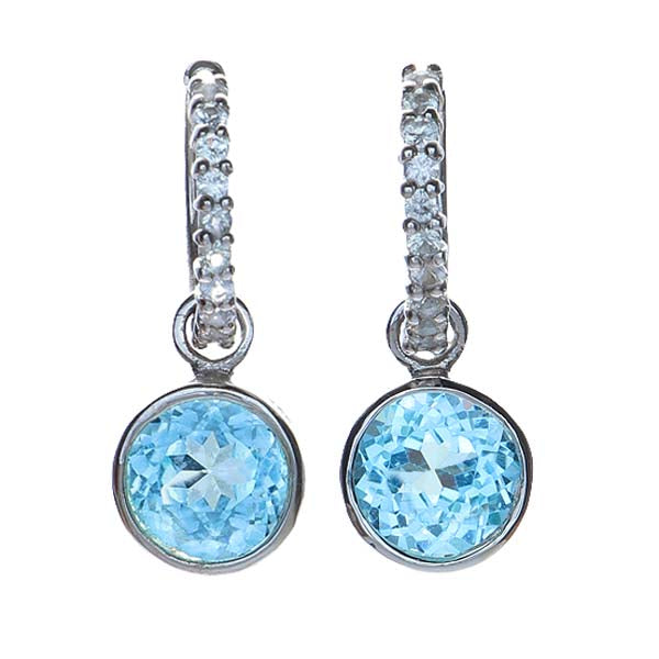 Sterling Silver Hoop and Charm Blue Topaz Earrings #7115E-BTWS