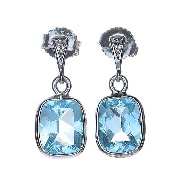 Sterling Silver and Blue Topaz  Drop Earrings. #7275E-BT - Leigh Jay & Co.