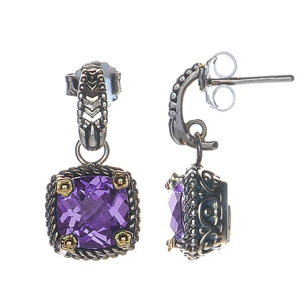 SS and 18kyg Earrings set with Amethyst #8009E-AM - Leigh Jay & Co.