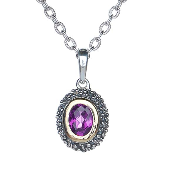Oval  Sterling Silver Pendant with Amethyst #8251P-ACH - Leigh Jay & Co.