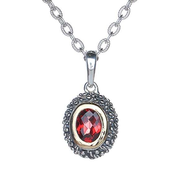 Oval  Sterling Silver Pendant with Garnet #8251P-GCH - Leigh Jay & Co.