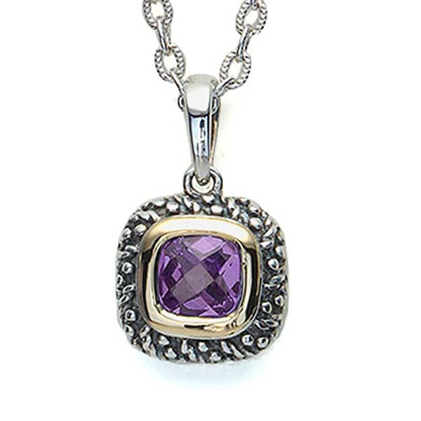Sterling Silver and 18K gold Amethyst Pendant #8252P-ACH - Leigh Jay & Co.