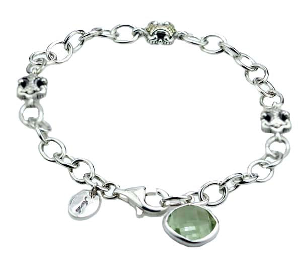 Sterling silver link bracelet with Prasiolite. #8257BR-GQ - Leigh Jay & Co.