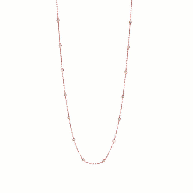14k Rose Gold 3/4 ct Station Necklace #DC14P5-18
