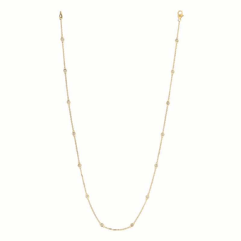 14k Yellow Gold 1/2 ct Station Necklace #DC14Y3-18
