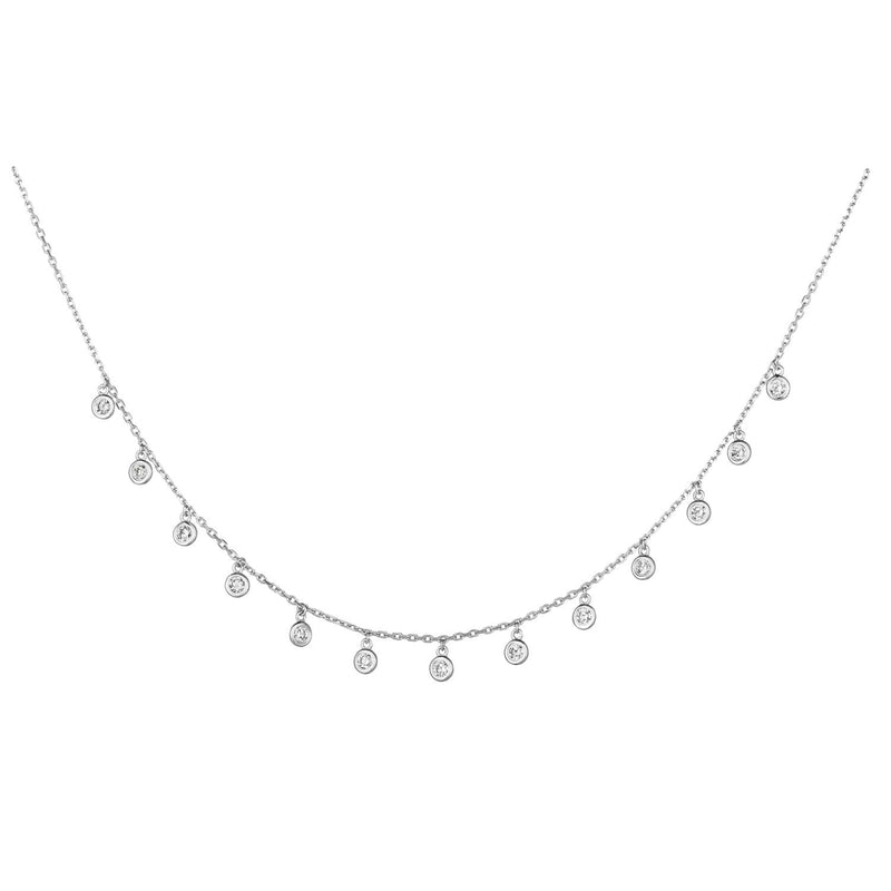 14k White Gold 1/2 ct Diamond Drop Station Necklace #DD14W50
