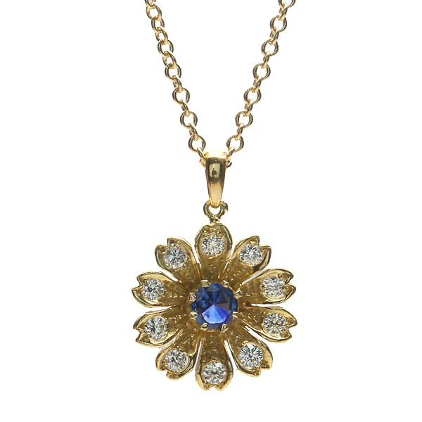 Replica Edwardian Flower Pendant set with a pink sapphire. #E1019B-02 - Leigh Jay & Co.