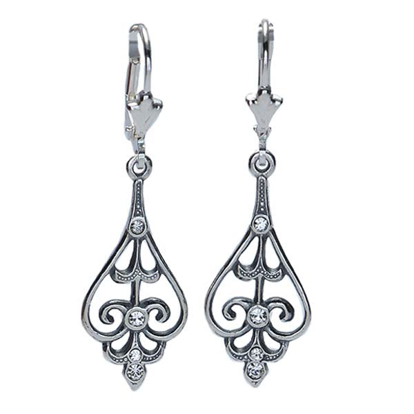 Vintage inspired Silver drop earrings. #E79831 - Leigh Jay & Co.
