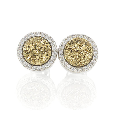 Druzy Quartz Earrings with CZ in Sterling Silver #EP851-G - Leigh Jay & Co.