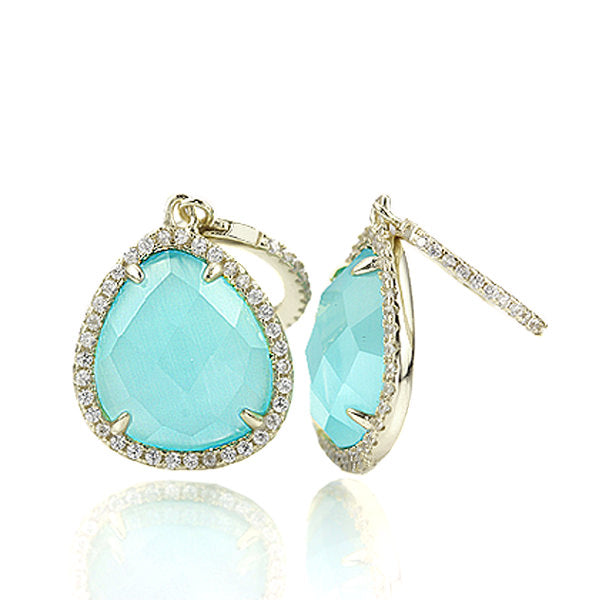 Drop Blue-Green Quartz Earrings with CZ in Gold Plated Silver. #ER127-BQ - Leigh Jay & Co.