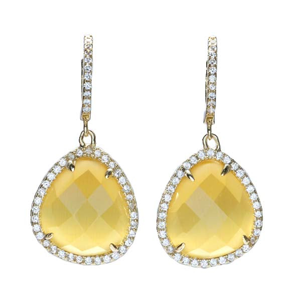 Drop Yellow Quartz Earrings with CZ in Gold Plated Silver. #ER127-YQ - Leigh Jay & Co.