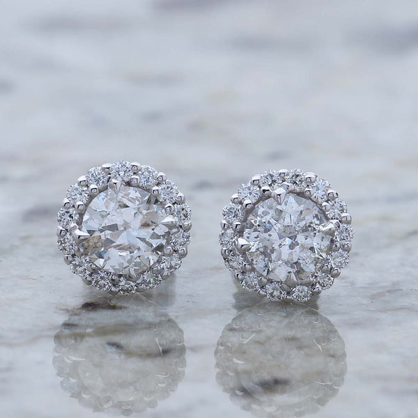 Halo Diamond Stud Earrings #ER344-1 - Leigh Jay & Co.