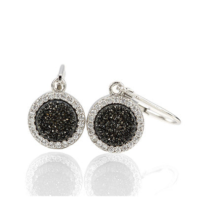 Druzy Quartz Earrings with CZ in Sterling Silver #ERD851-s - Leigh Jay & Co.