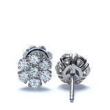 Vintage Style Diamond Flower Cluster Earrings #ES990-2 - Leigh Jay & Co.