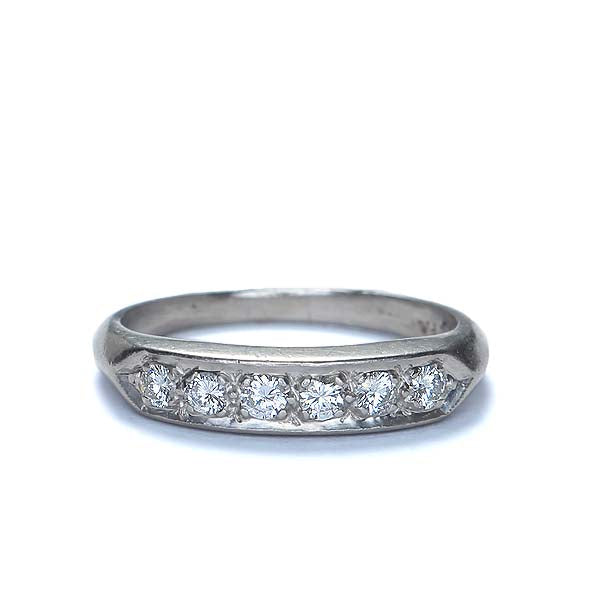Midcentury Diamond wedding band. #I1978 - Leigh Jay & Co.