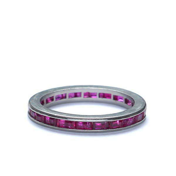 Vintage Synthetic Ruby Wedding band. #I2957 - Leigh Jay & Co.