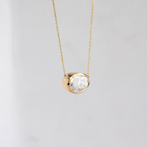 Contemporary Oval Diamond Necklace #VN200811-1