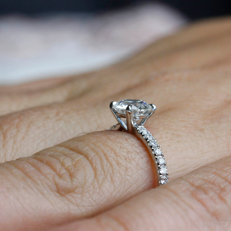 Contemporary Micro Pave Diamond Engagement Ring #3470-2