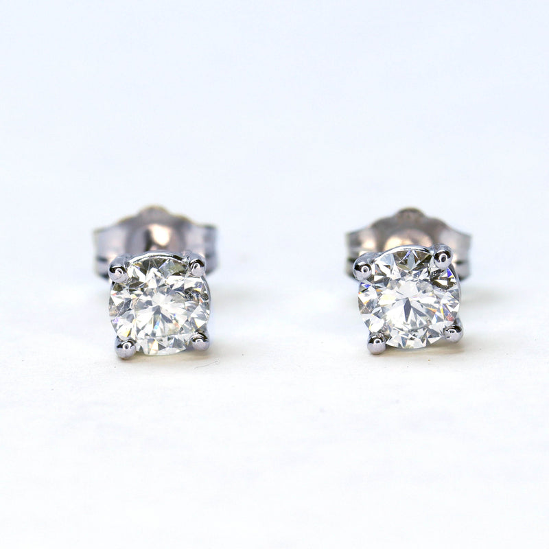 Diamond Stud Earrings .78 carat total weight