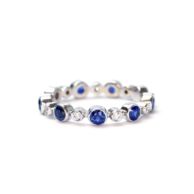 Bezel Set Diamond and Sapphire Wedding Band #L3471-1