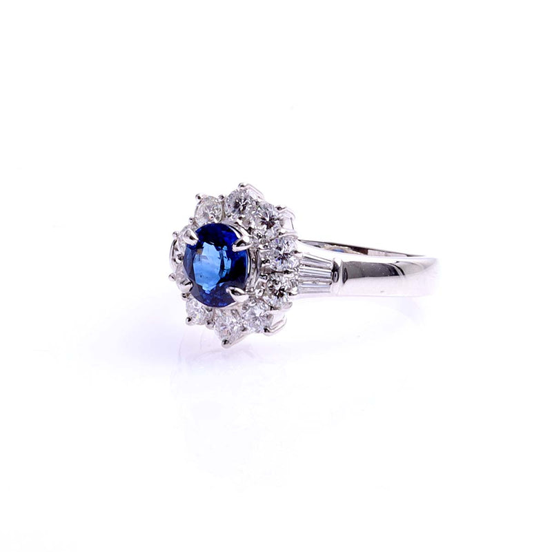 Contemporary Estate Platinum Diamond and Sapphire Ring #VR210311-9