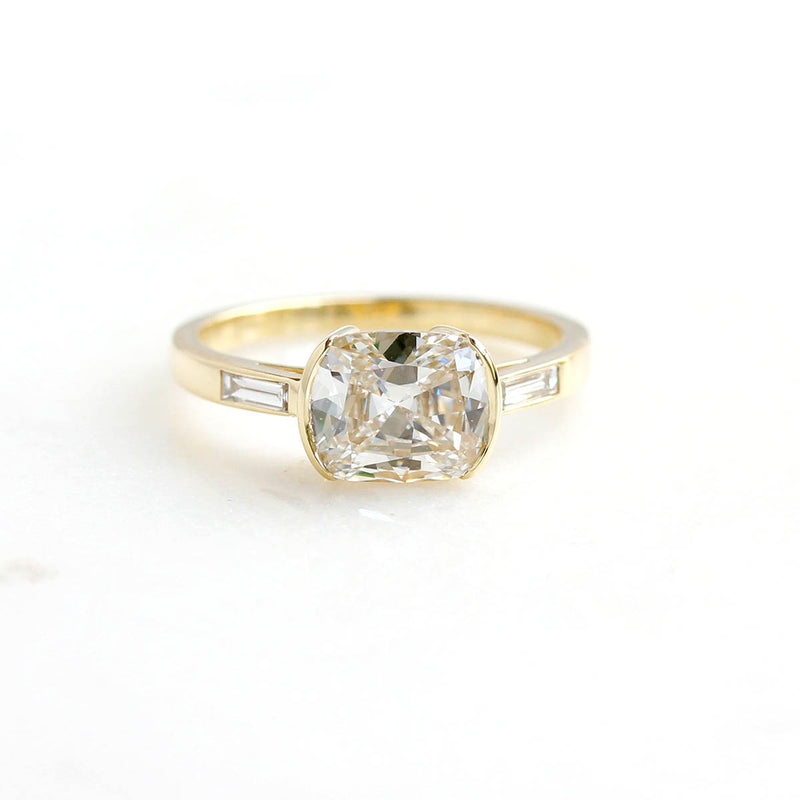 The Marianna Moderne Style Cushion Cut Diamond Engagement Ring #3481-1