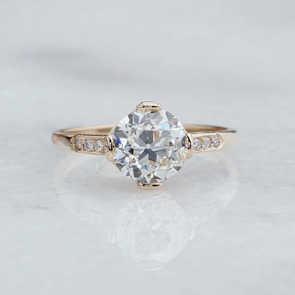Replica Edwardian Engagement Ring with Vintage Diamond #3144-19 - Leigh Jay & Co.