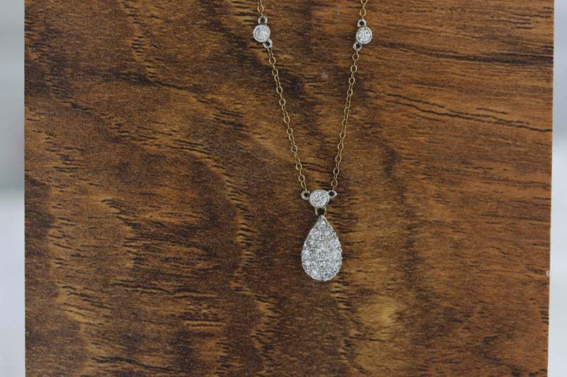 Vintage pave diamond pendant with chain #VN1008 - Leigh Jay & Co.