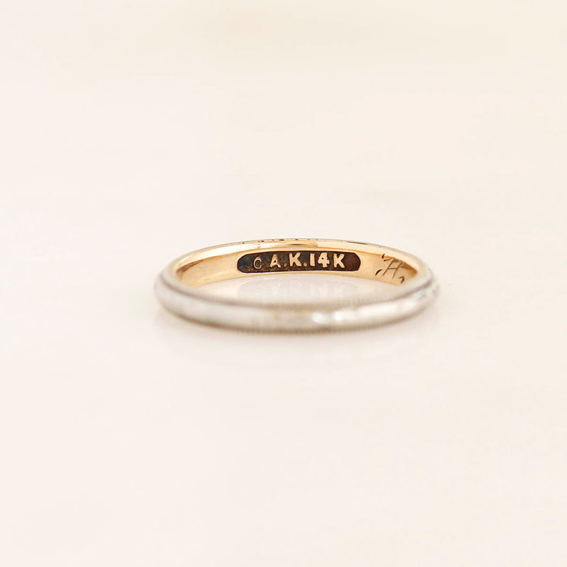 Edwardian Wedding Band White Gold over Yellow Gold #VB200715-8 - Leigh Jay & Co.