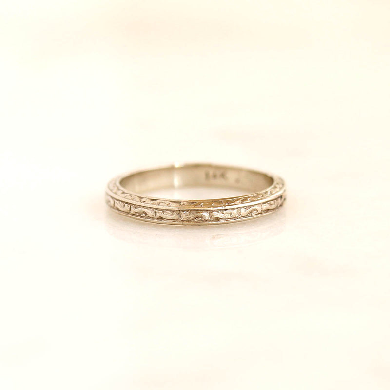Circa 1920s Wedding Band with Swirl Design #VB200715-6 - Leigh Jay & Co.