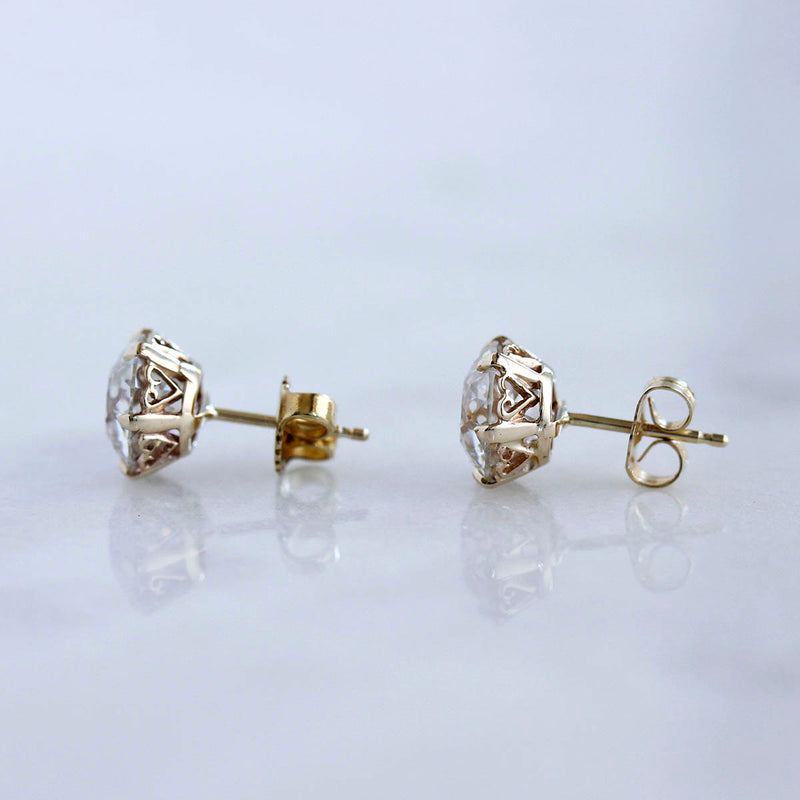 Replica Edwardian Old European Cut Moissanite Stud Earrings #MOIS8OEC-1 - Leigh Jay & Co.