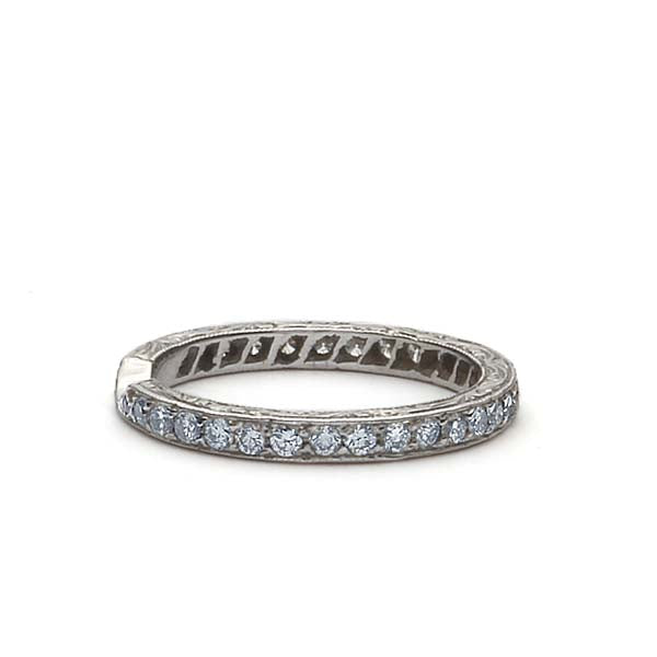 Platinum Diamond Eternity Wedding Band - Notched #L1064EN PLAT - Leigh Jay & Co.