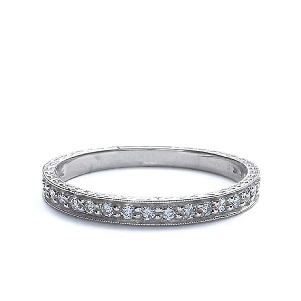 Platinum Diamond Replica Art Deco Wedding Band #L1107TDPT-1 - Leigh Jay & Co.