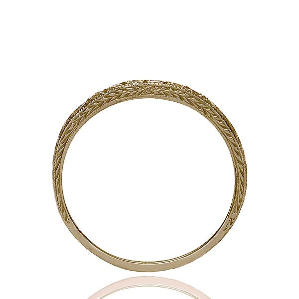 14k Yellow Gold Curved Diamond Band #L1120Y14-1 - Leigh Jay & Co.