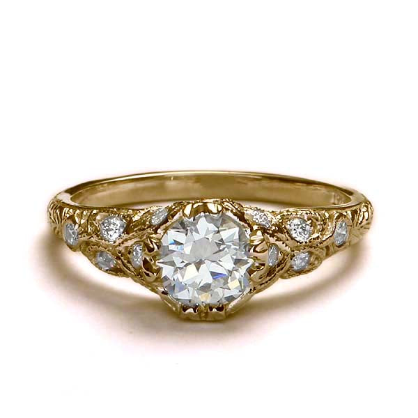 Replica art deco domed engagement ring #L1140 - Leigh Jay & Co.