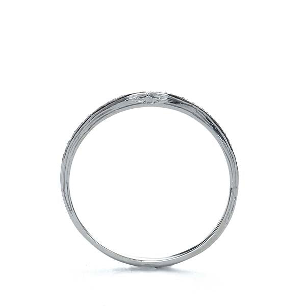 Contoured Diamond Wedding Band with Hand Engraved Details #L1292HE 14K - Leigh Jay & Co.